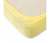 Простынь на резинке желтая, высота 20 см